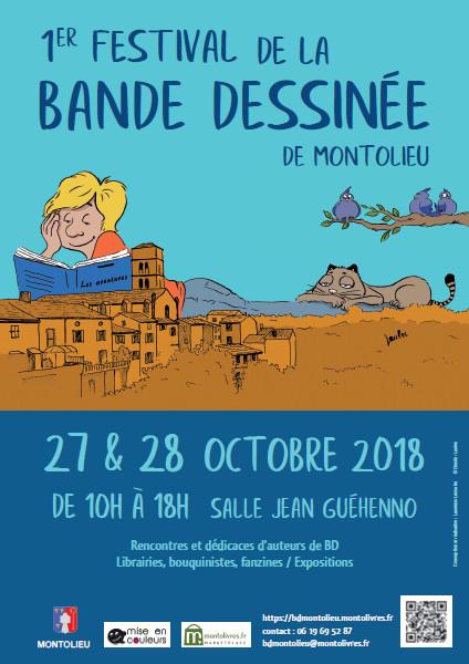 Affiche du 1er festival de la bande dessinée de Montolieu